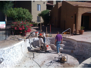 Pressure Grouting a swimming pool in tucson az